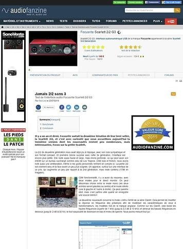 Audiofanzine.com Focusrite Scarlett 2i2 G3