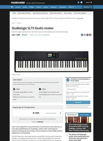 MusicRadar.com Studiologic SL73 Studio