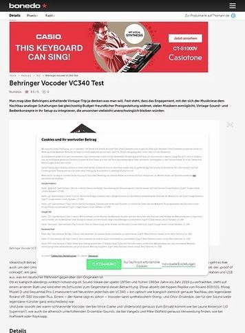 Bonedo.de Behringer Vocoder VC340