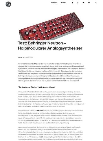 DJLAB Behringer Neutron