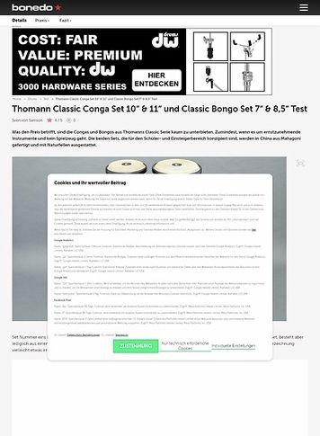 "Bonedo.de Thomann Classic Conga Set 10"" & 11"" und Classic Bongo Set 7"" & 8,5"""