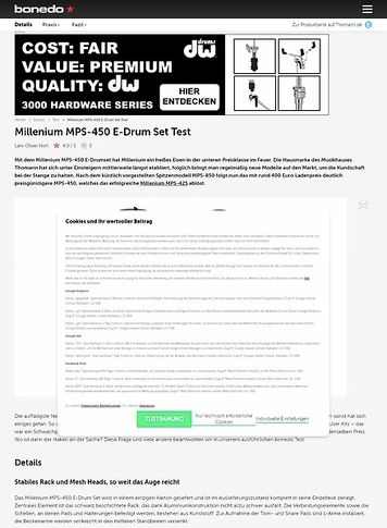Bonedo.de Millenium MPS-450 E-Drum Set