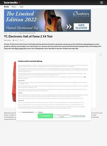 Bonedo.de TC Electronic Hall of Fame 2 X4