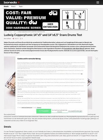 "Bonedo.de Ludwig Copperphonic 14""x5"" und 14""x6,5"" Snare Drums"