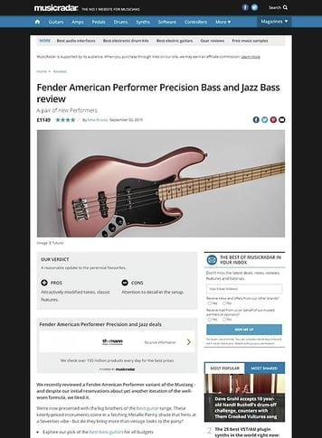 MusicRadar.com Fender American Performer Precision and Jazz Bass
