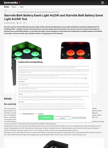 Bonedo.de Stairville Bel4 Battery Event Light 4x15W und Stairville Bel6 Battery Event Light 6x15W