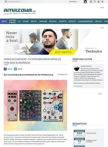 Amazona.de Vergleichstest: CV-Steuerungs-Module für das Eurorack