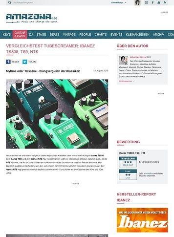 Amazona.de Vergleichstest Tubescreamer: Ibanez TS808, TS9 und NTS