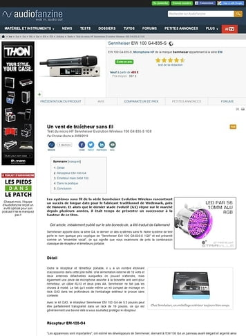 Audiofanzine.com Sennheiser EW 100 G4-835-S