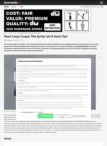 """Bonedo.de Pearl Casey Cooper The Igniter 14""""x5"""" Snare"""