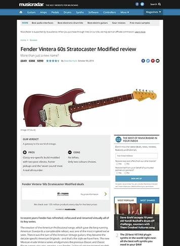 MusicRadar.com Fender Vintera 60s Stratocaster Modified