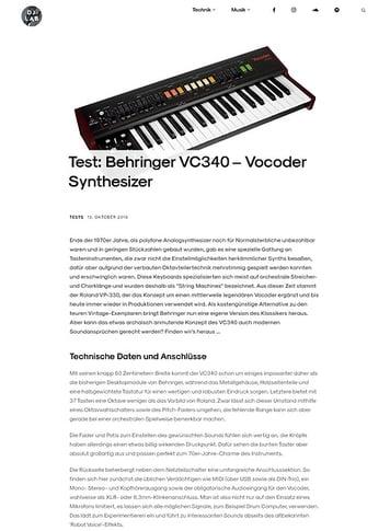DJLAB Behringer Vocoder VC340