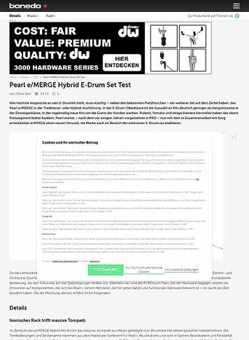 Bonedo.de Pearl e/MERGE Hybrid E-Drum Set