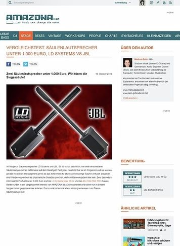 Amazona.de Vergleichstest: Säulenlautsprecher unter 1.000 Euro, LD Systems vs JBL