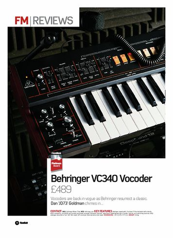 Future Music Behringer VC340 Vocoder