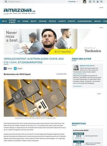 Amazona.de Vergleichstest: Austrian Audio OC818 und AKG C12 / C414, Studiomikrofone