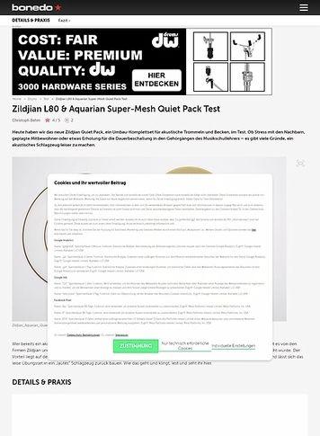 Bonedo.de Zildjian L80 & Aquarian Super-Mesh Quiet Pack
