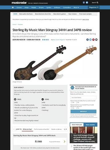 MusicRadar.com Sterling By Music Man Stingray 34HH and 34PB