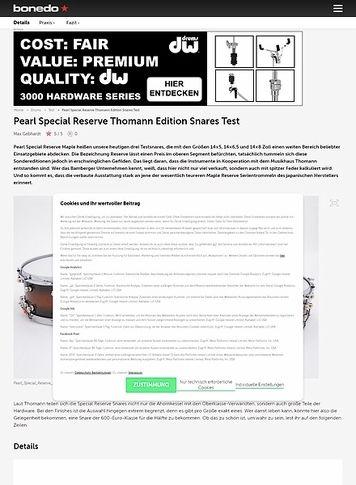 Bonedo.de Pearl Special Reserve Thomann Edition Snares