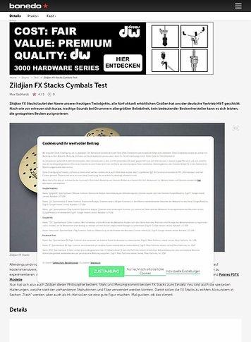 Bonedo.de Zildjian FX Stacks Cymbals Test