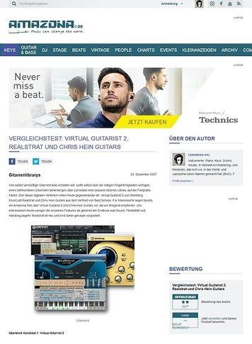 Amazona.de Vergleichstest: Virtual Guitarist 2, Realstrat und Chris Hein Guitars
