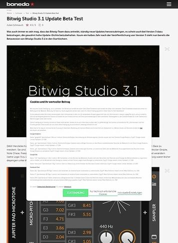 Bonedo.de Bitwig Studio 3.1 Update Beta