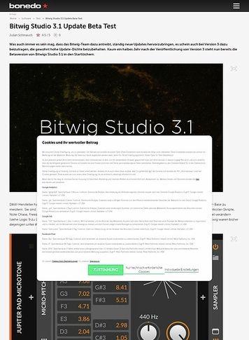 Bonedo.de Bitwig Studio 3.1 Update Beta