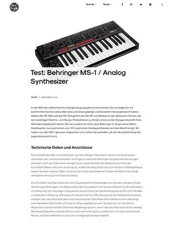 DJLAB Behringer MS-1