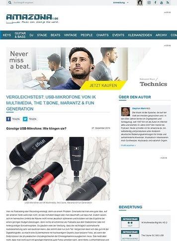 Amazona.de Vergleichstest: USB-Mikrofone von IK Multimedia, the t.bone, Marantz & Fun Generation