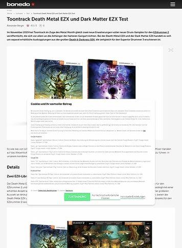 Bonedo.de Toontrack Death Metal EZX und Dark Matter EZX
