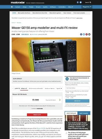 MusicRadar.com Mooer GE150 amp modeller and multi-FX