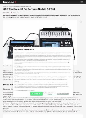 Bonedo.de QSC Touchmix-30 Pro Software Update 2.0