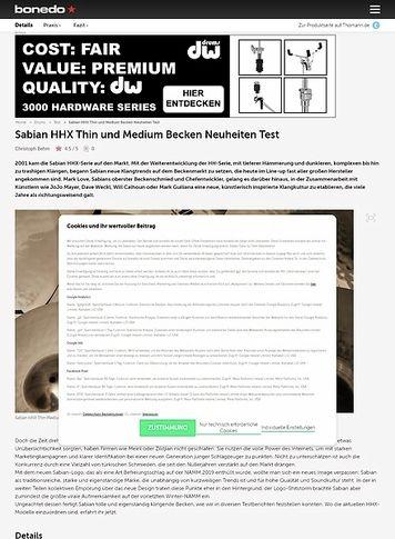 Bonedo.de Sabian HHX Thin und Medium Becken Neuheiten