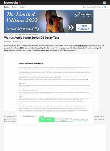 Bonedo.de Walrus Audio Mako D1 Delay