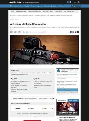 MusicRadar.com Arturia AudioFuse 8Pre