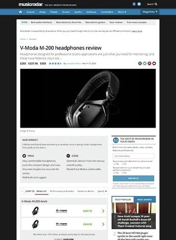 MusicRadar.com V-Moda M-200
