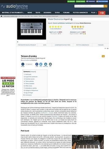 Audiofanzine.com Modal Electronics Argon8