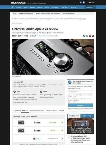 MusicRadar.com Universal Audio Apollo x4