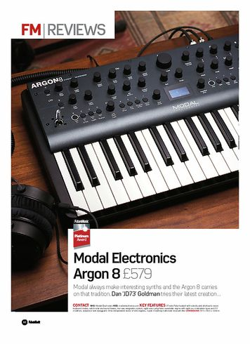 Future Music Modal Electronics Argon 8