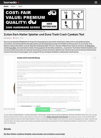 Bonedo.de Zultan Dark Matter Splatter und Dune Trash Crash Cymbals
