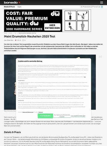Bonedo.de Meinl Drumstick-Neuheiten 2020
