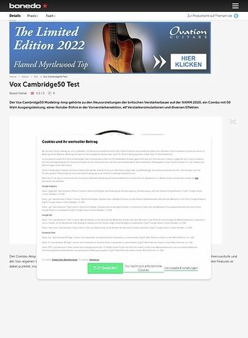 Bonedo.de Vox Cambridge50
