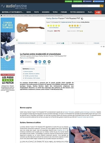 Audiofanzine.com Harley Benton Fusion-T HH Roasted FNT