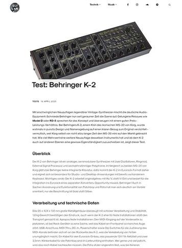 DJLAB Behringer K-2