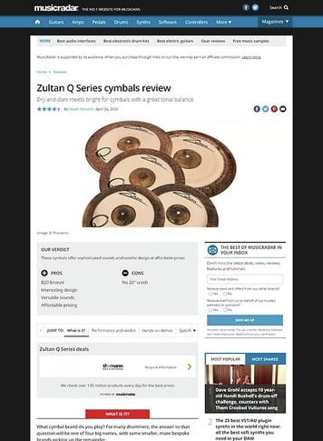 MusicRadar.com Zultan Q Series Cymbals