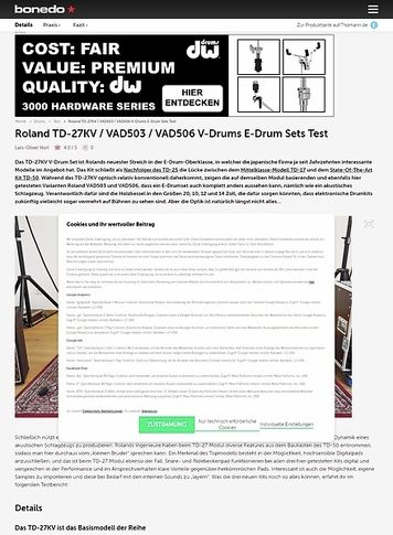 Bonedo.de Roland TD-27KV, VAD503 und VAD506