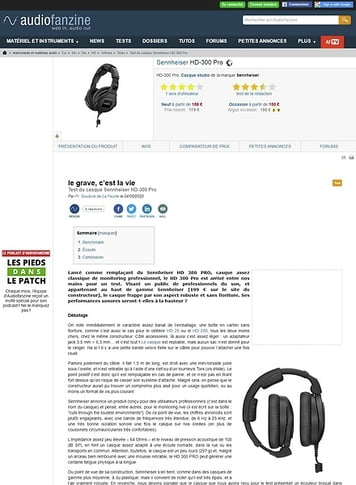 Audiofanzine.com Sennheiser HD-300 Pro