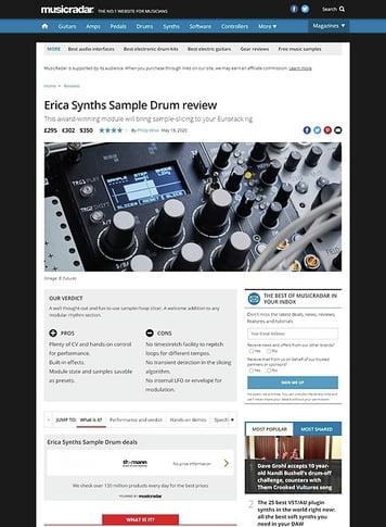 MusicRadar.com Erica Synths Sample Drum