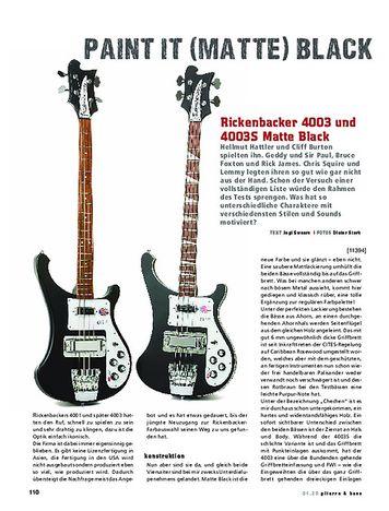 Gitarre & Bass Rickenbacker 4003 und 4003S Matte Black