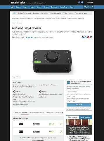 MusicRadar.com Audient Evo 4
